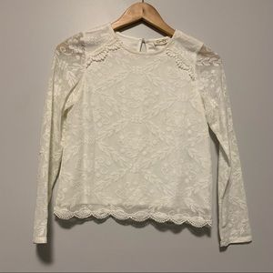 Jessica Simpson white lace embroidered blouse XS